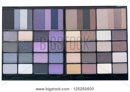 top view beautiful dark smokey and purple eyeshadows palette backgrounds