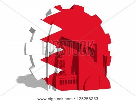3D gear with oil pump gas rig and factory simple icons textured by Bahrain flag. Heavy and mining industry concept. 3D rendering