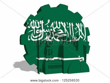 3D gear with oil pump gas rig and factory simple icons textured by Saudi Arabia flag. Heavy and mining industry concept. 3D rendering