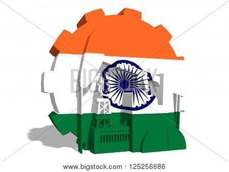 3D gear with oil pump gas rig and factory simple icons textured by India flag. Heavy and mining industry concept. 3D rendering