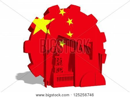 3D gear with oil pump gas rig and factory simple icons textured by China flag. Heavy and mining industry concept. 3D rendering