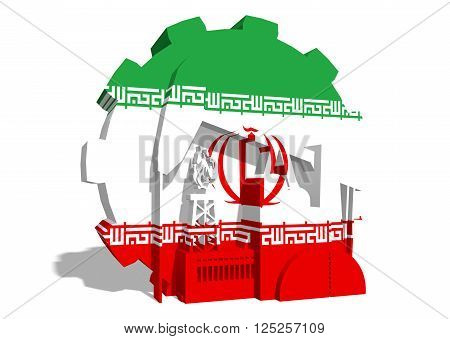 3D gear with oil pump gas rig and factory simple icons textured by Iran flag. Heavy and mining industry concept. 3D rendering