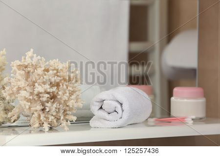 White towel and coral on a shelf in bathroom