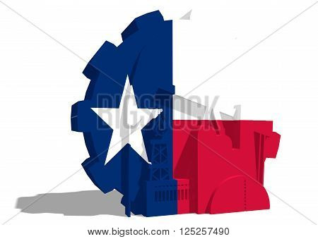 3D gear with oil pump gas rig and factory simple icons textured by Texas flag. Heavy and mining industry concept. 3D rendering