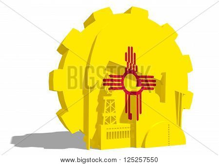 3D gear with oil pump gas rig and factory simple icons textured by New Mexico flag. Heavy and mining industry concept. 3D rendering