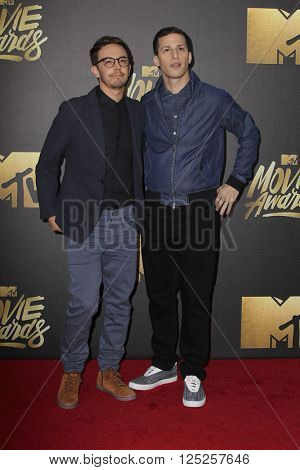 LOS ANGELES - APR 9:  Joma Taccone, Andy Samberg at the 2016 MTV Movie Awards Arrivals at the Warner Brothers Studio on April 9, 2016 in Burbank, CA