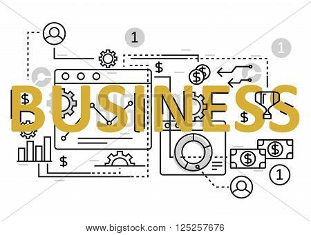 Business concept flat line design with icons and elements. Modern business concept vectors collection. Thin line flat design banners for website and mobile website easy to use and highly customizable