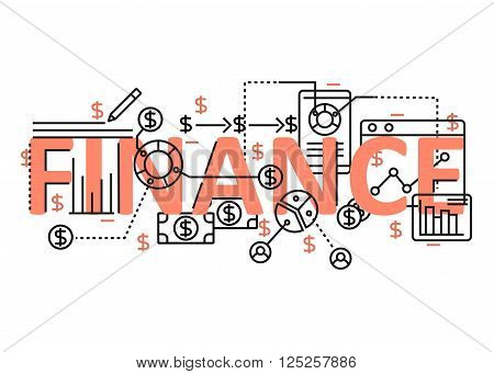 Finance concept flat line design with icons and elements. Modern finance concept vectors collection. Thin line flat design banners for website and mobile website easy to use and highly customizable