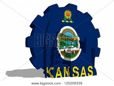 3D gear with oil pump gas rig and factory simple icons textured by Kansas flag. Heavy and mining industry concept. 3D rendering