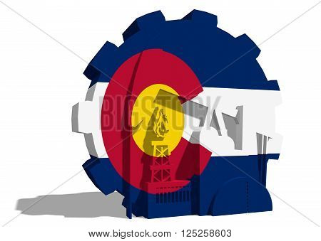 3D gear with oil pump gas rig and factory simple icons textured by Colorado flag. Heavy and mining industry concept. 3D rendering