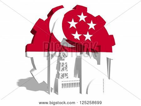 3D gear with oil pump gas rig and factory simple icons textured by Singapore flag. Heavy and mining industry concept. 3D rendering