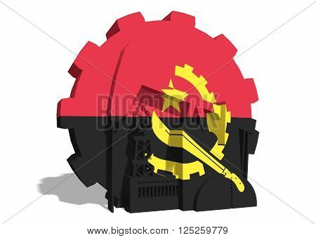 3D gear with oil pump gas rig and factory simple icons textured by Angola flag. Heavy and mining industry concept. 3D rendering