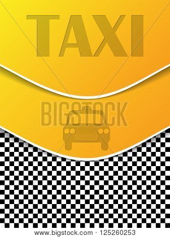 Checkered taxi brochure template design with cab silhouette and text