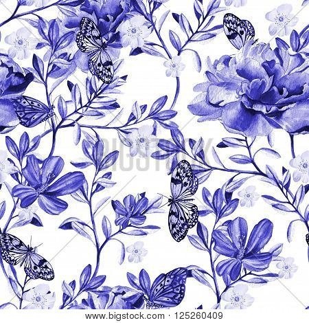 Pattern with watercolor realistic  chinese rose, peony and butterflies.  Illustration