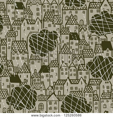 Seamless retro pattern with houses and clouds