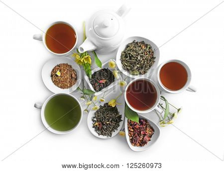 Different sorts of tea on white background