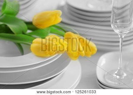 Set of dishes with yellow tulips for dinner party, close up