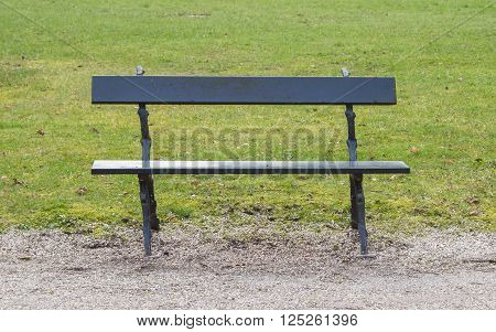 Simple wooden garden bench in a park