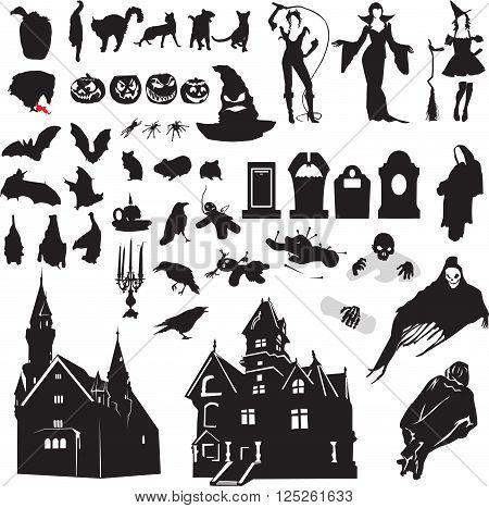 large set of isolated silhouettes symbolizing Halloween