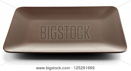 Rectangular brown ceramic dish, isolated on white