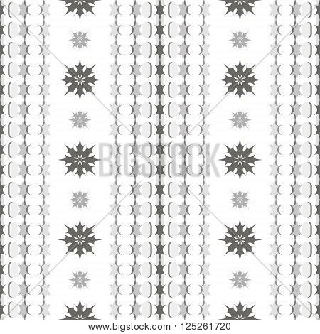 Seamless black and white pattern with vertical chains of stars and beautiful carved flowers. Elegant monochrome print. Vector illustration for various creative projects