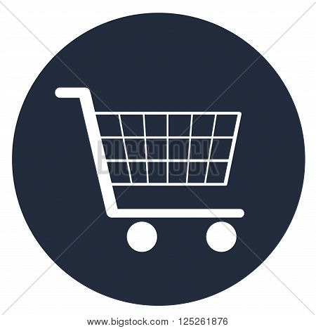 White vector super market trolley isolated icon