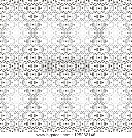Abstract seamless geometric black and white pattern of circles, hoops and rhombuses. Contrast monochrome ornament in various shades of gray. Vector illustration for various creative projects