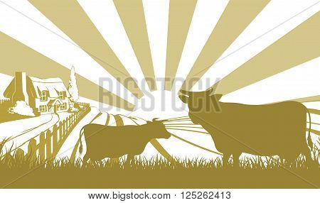 Cattle Farm Scene