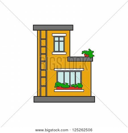 Illustration house letter alphabet. Larning the alphabet and literally in kindergarten. Letter isolated. The letter B