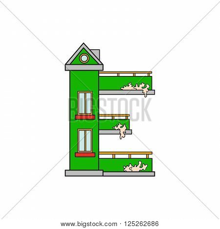 Illustration house letter alphabet. Larning the alphabet and literally in kindergarten. Letter isolated. The letter E