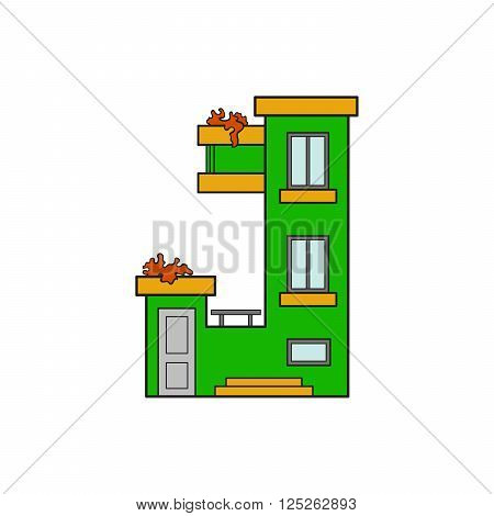 Illustration house letter alphabet. Larning the alphabet and literally in kindergarten. Letter isolated. The letter J