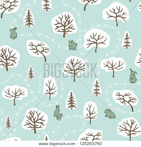 Seamless pattern with winter forest and rabbits