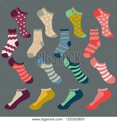 Vector fashion Set icon of colored socks. Different types of socks- Illustration