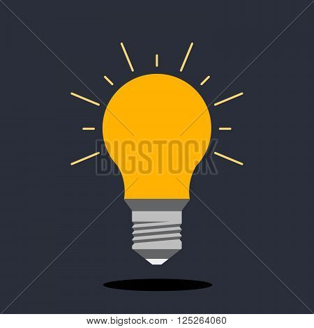 Incandescent lamp for illumination. The concept of the idea. Flat light bulb logo.
