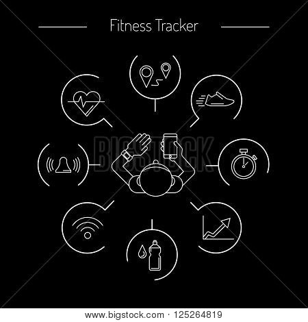 Wearable electronics fitness tracker gadget activity tracker bracelet that reads the state of the body sports activities in the gym or outdoors. tracker infographics performed in a linear style