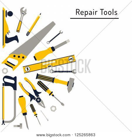 Do it yourself construction repair tools flat icon set. Tools like hammer axe ruler hatchet home repair. Isolated tools flat set. Home renovation and construction concept with DIY tools.