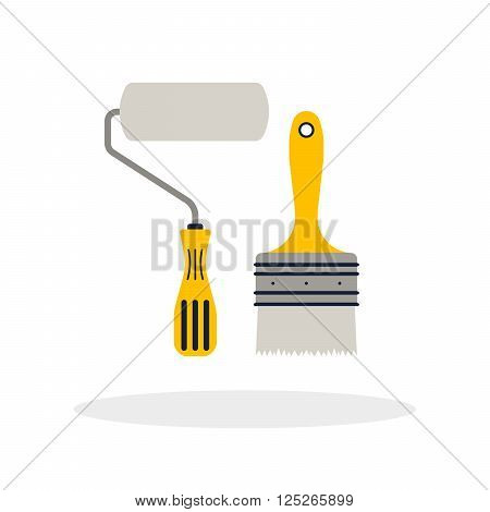 Construction repair tools paint brush and roller flat. Tools like paint brush and roller hatchet home repair. Isolated tools flat set.