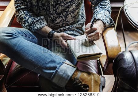 Man Writing Diary Relax Concept