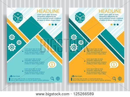 Gambling Dice Web Symbol On Vector Brochure Flyer Design Layout Template