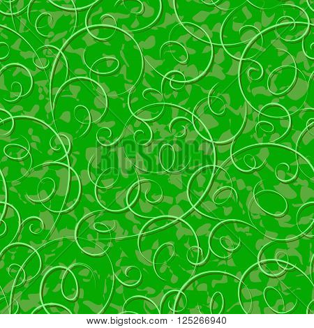 Seamless abstract green liana twisted tendril background
