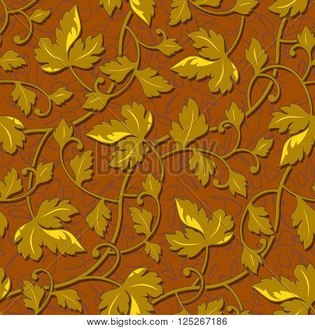 vector contour autumn gold leaf seamless background