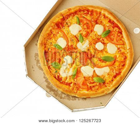 Margherita pizza in cardboard box, isolated on white