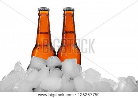 Beer bottles in ice cubes, isolated on white