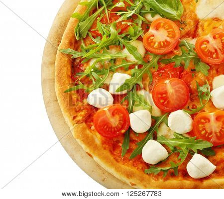 Margherita pizza with fresh arugula, Mozzarella and tomatoes, isolated on white