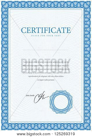 Certificate. Template diplomas, currency.  Award background. Gift voucher. Vector