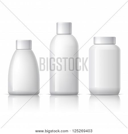 set of cosmetic products on a white background. Cosmetic package collection for cream, soups, shampoo. vector illustration. 3d