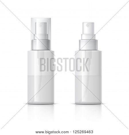 Realistic Cosmetic bottle can sprayer container. Dispenser for cream, soups, and other cosmetics With lid and without. Template For Mock up Your Design. vector illustration.3d