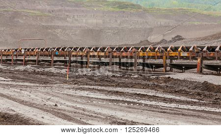 Conveyor belts in coal mining, industrial place