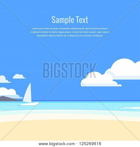 Beautiful seascape. Azure sea and white sand. Vector illustration.