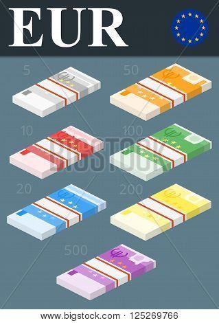 Abstract 500 euro, 200 euro, 100 euro, 50 euro, 20 euro, 10 euro, 5 euro banknotes.